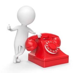 robot con teléfono rojo